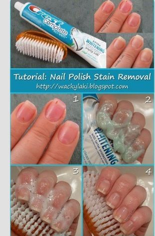 How to get nail polish stains off! I just did this it actually works!