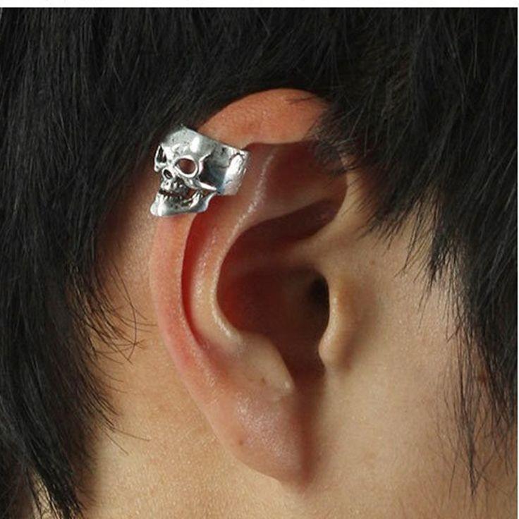 2017 Hot Selling European And America Retro Brincos Punk Skull Bones Earrings Ear Cuff For Women And Men Skull Head Earings