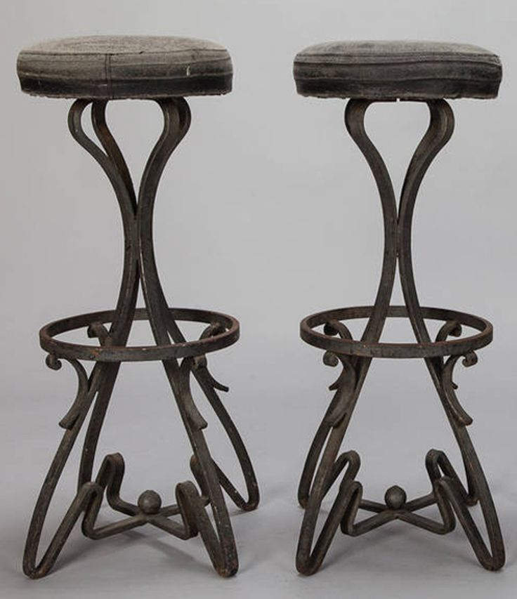 pair bar height stools with fer forge base circa 1930s pair french wrought iron