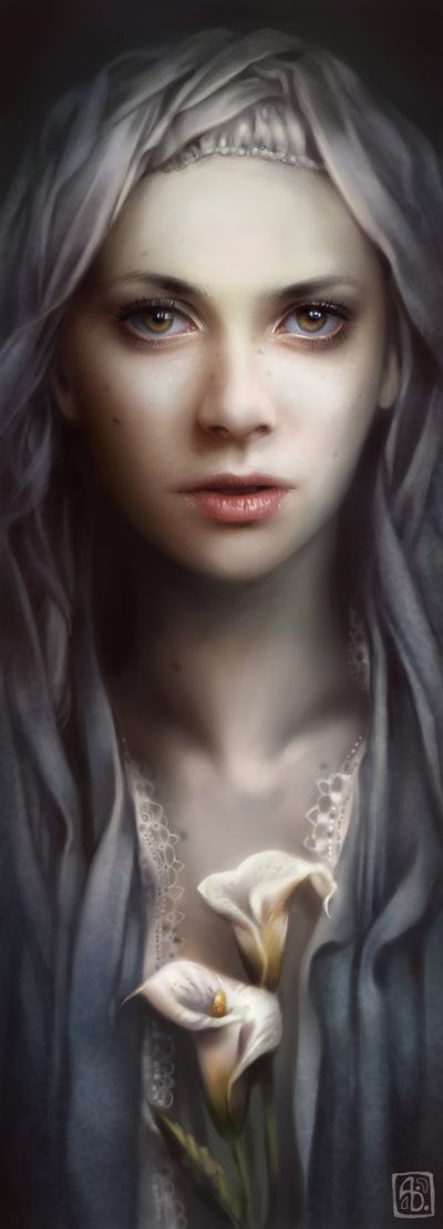 """Lily"" - Anna Dittmann {figurative art beautiful female woman flower digital painting} Enchanting !! annadittmann.com"