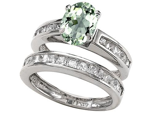 Green Amethyst Wedding Set Style Number: 28389 - Finejewelers.com
