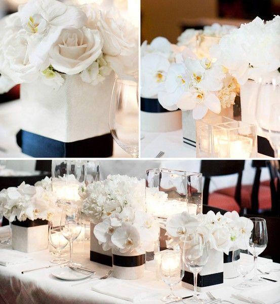 Black And White Reception Wedding Flowers Decor Flower Centerpiece
