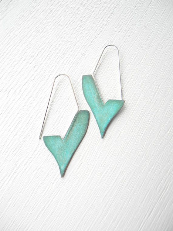 Items similar to CIJ FREE SHIPPING - Geometric Verdigris Earrings - handmade copper and sterling silver dangle earrings with verdigris patina, Etsy on Etsy, a global handmade and vintage marketplace.