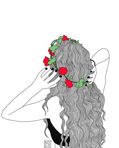 bras, ongles noirs, cheveux bouclés, chapeau de fleurs, fille ...