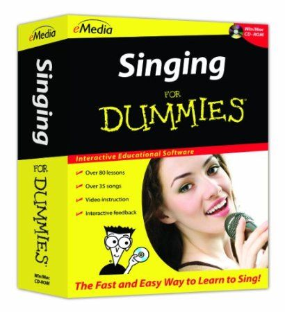 eMedia Singing For Dummies offers a fun way to learn to sing; step-by-step at your own pace. Songs and exercises in over 80 lessons with interactive feedback are accompanied by full-motion videos, live-recorded audio, and variable-speed MIDI tracks. The easy-to-follow lessons show you how to sing in time and in tune, use proper singing technique, and develop and project your voice. Price: $29.95