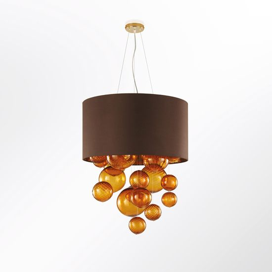 Absolute Suspension Lamp | The Absolute Suspension Lamp designed by MULTIFORME consists of 3 lights, placed inside a great brown lampshade, decorative Murano blown glass oran... view details on www.treniq.com