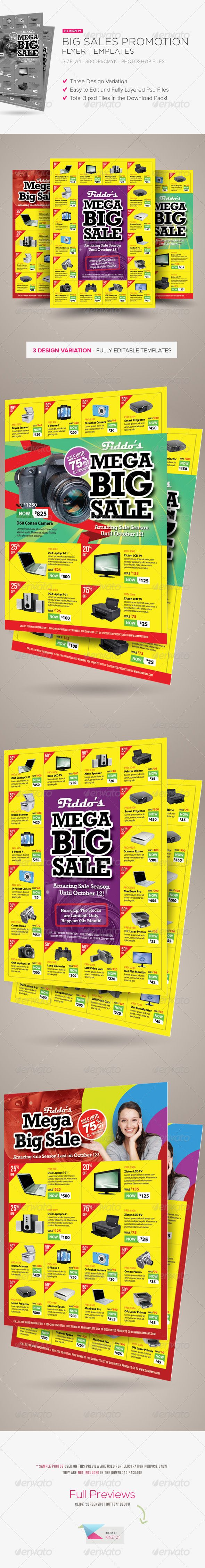 Big Sale Promotion Flyers - Big Sale Promotion Flyers are design templates created for sale on Graphic River. More info of the templates and how to get the template sourcefiles can be found on this page: http://graphicriver.net/item/big-sale-promotion-flyers/5595976?r=kinzi21