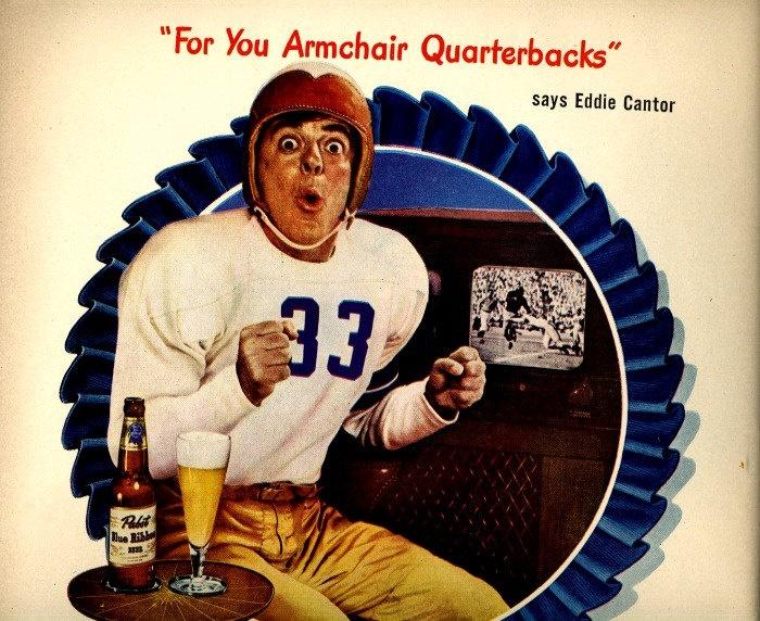 Vintage Football Beer Advertisement Armchair Quarterbacks
