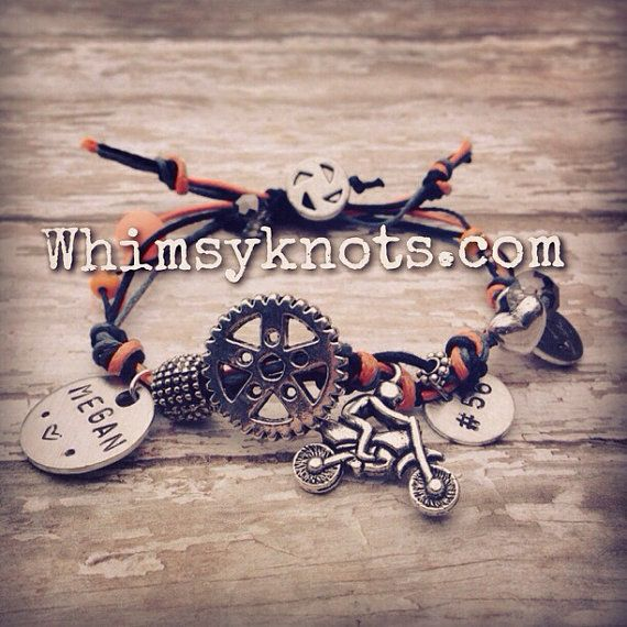 Dirt-bike charm bracelet--great for layering/stacking or alone.