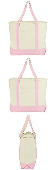"""Pink Canvas Tote Bags. DALIX 22"""" Extra Large Cotton Canvas Zippered Shopping Tote Bag in Pink.  #pink #canvas #tote #bags #pinkcanvas #canvastote #totebags"""