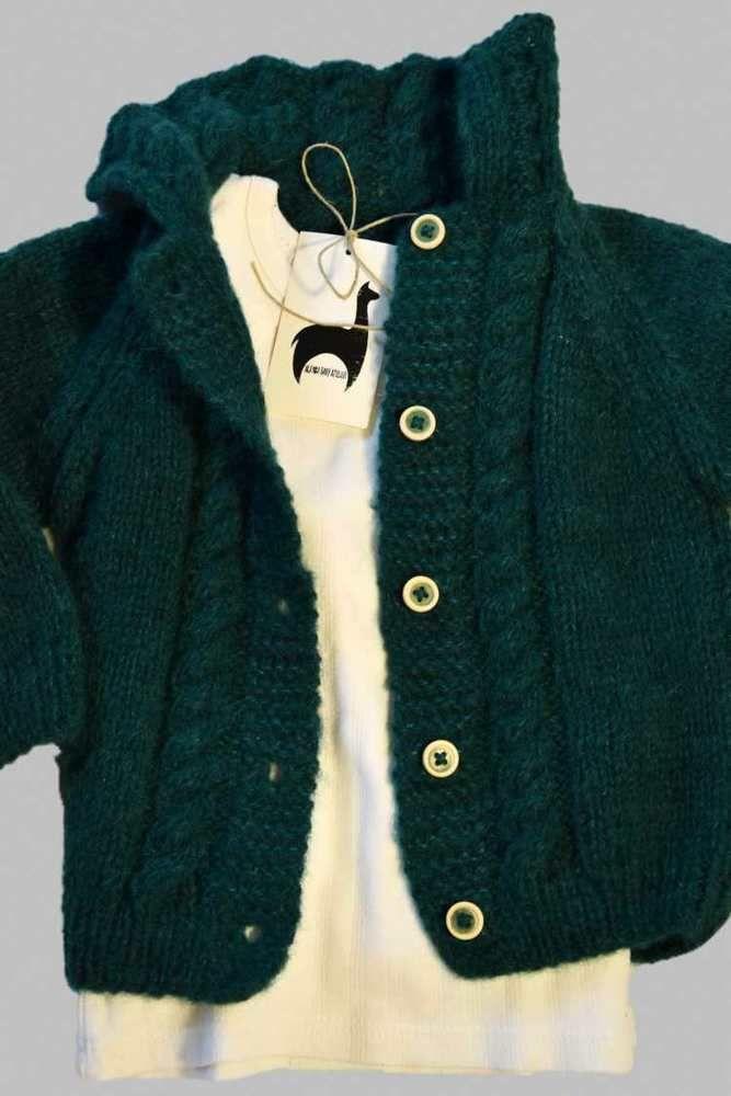 Alpaka Silk waldgrün Baby strickjacke 12-18 Monate