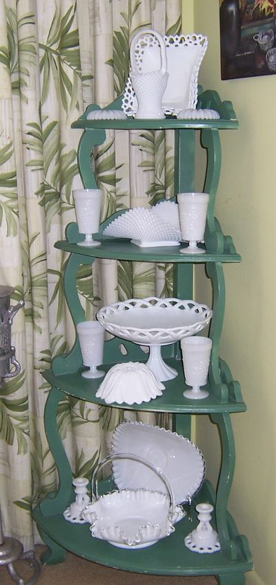 milk glass Collection display