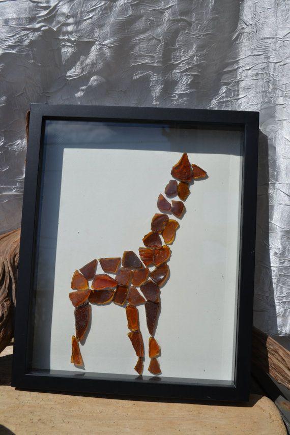 Giraffe Beach Glass Shadow Box Picture By Senecabeachgems