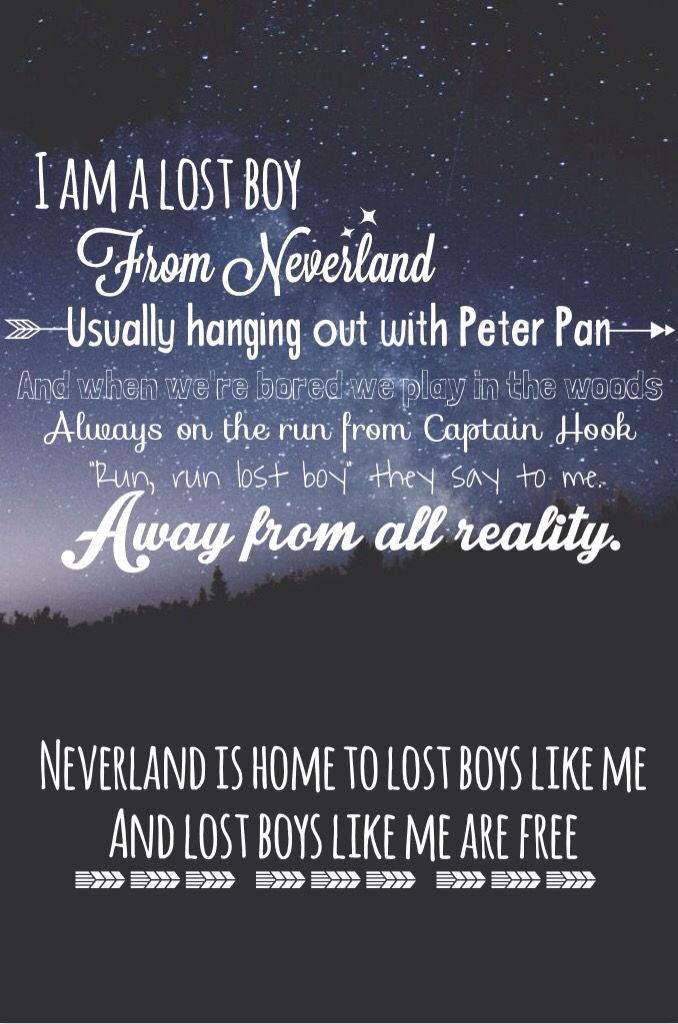 Lost boy by: Ruth b Peter Pan lost boy neverland song lyrics quotes good quotes Peter Pan quotes--this would be an amazing print