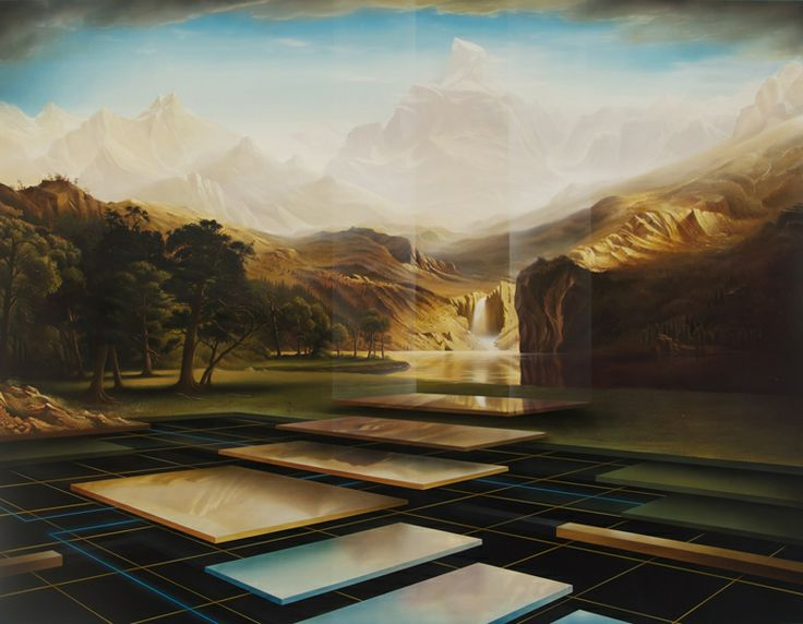 A Dream for a Place Beyond Borders-After Bierstadt. Peter Daverington's beautiful images merge his skill at draughting with his graffiti background and virtuosity with paint. The complex images have a haunting stillness and reward a curious viewer. Combining geometric abstract shapes with organic ones is a common feature of his work.