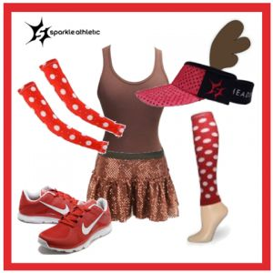 Reindeer Running Costume - complete with Sparkle Athletic skirt, sleeves, race legs and visor! Perfect for a Christmas or winter themed race! | Running | Race Costume | Sparkle Athletic | #TeamSparkle | Christmas | Athletic Costume