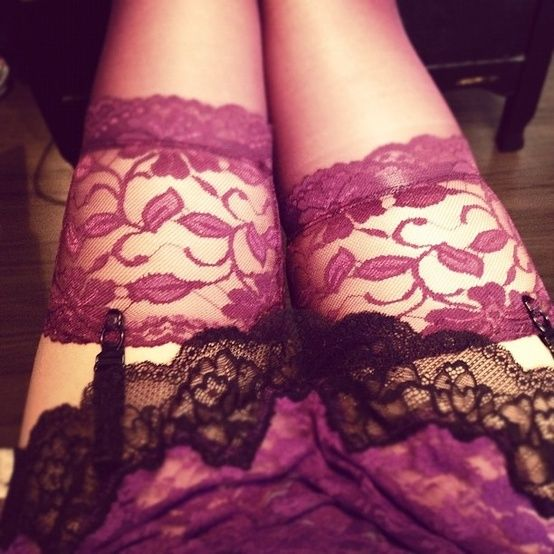 Cranberry lace stockings