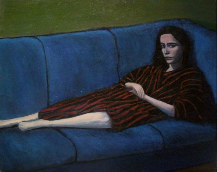 Girl on the blue couch- oil on canvas 40x50 cm