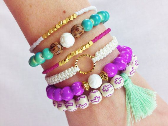 Mermaid Boho Bracelet Stack Set by dAnn, #bracelets, #summerstack, #armcandy