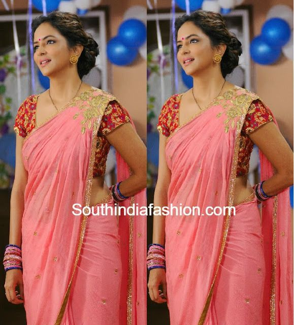 lakshmi manchu in peach saree