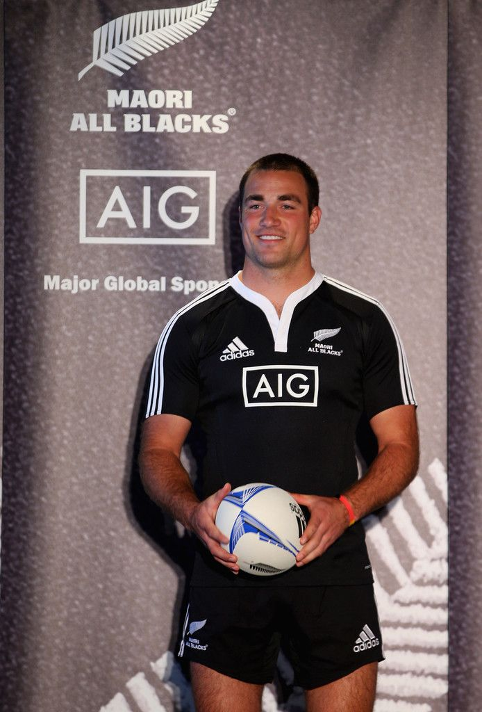 Richard Kahui models the new Maori All Black jersey on stage during a NZRU and AIG sponsorship announcement at Viaduct Events Centre on October 12, 2012 in Auckland, New Zealand.