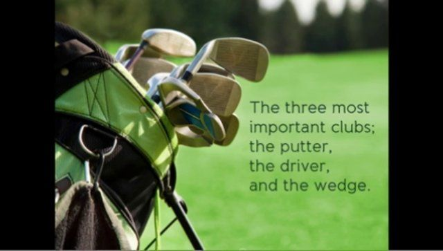 the putter, the driver and the wedge