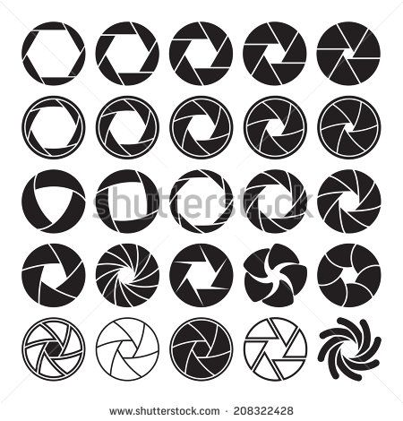 Set of black camera shutter icons on white background. Vector illustration - stock vector