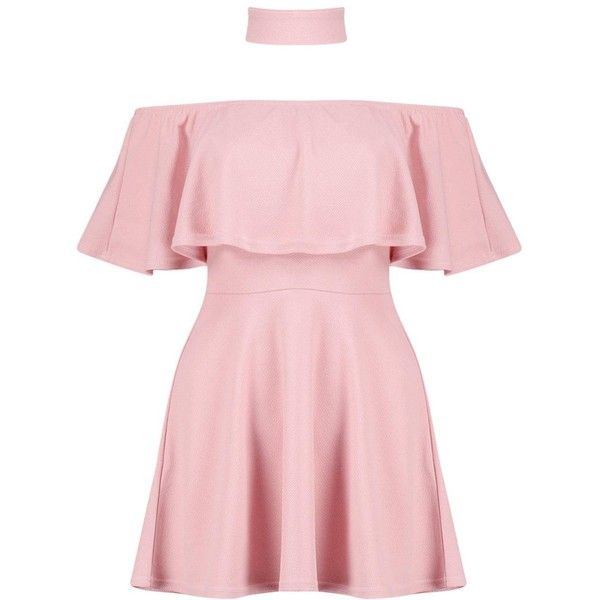 Boohoo Saskia Choker Off Shoulder Skater Dress (1.050 UYU) ❤ liked on Polyvore featuring dresses, vestidos, pink party dresses, off-the-shoulder maxi dresses, off-shoulder maxi dresses, maxi dresses and pink skater dress