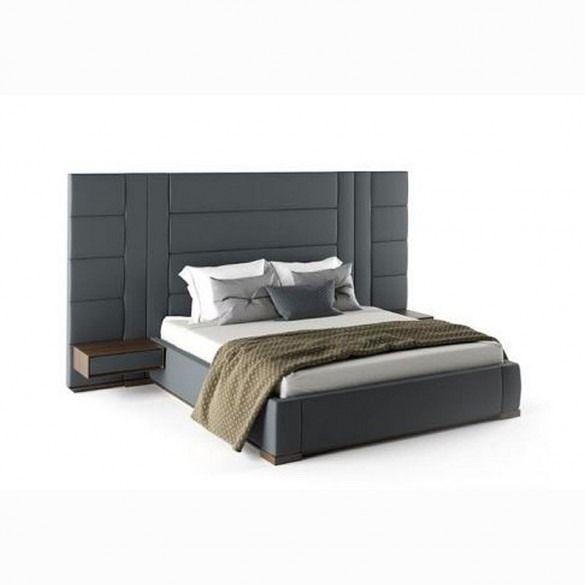 Amazon X L Bed With Huge Headboard 2 Side Tables Walnut Grey Fabric Quatropi Bed Back Design Bedroom Interior Design Luxury Luxury Bedroom Design