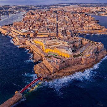 Beautiful Malta from the air! The newly-restored Fort St Elmo is all lit up in this stunning bird's eye view of Malta's capital city, Valletta