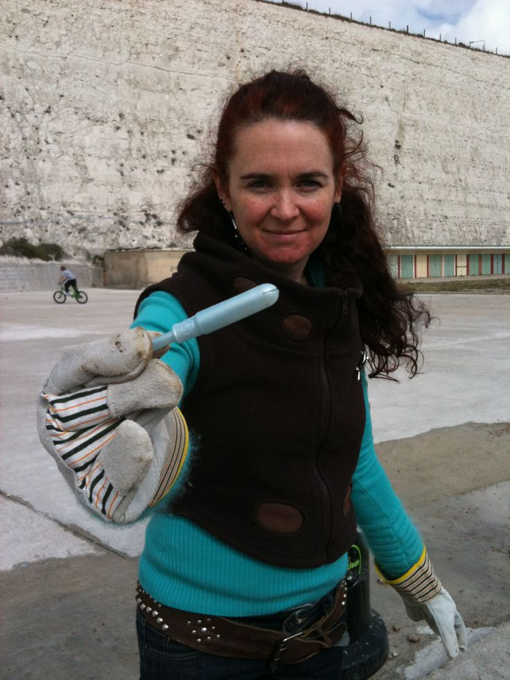 Mooncup's Eileen with a used tampon applicator, found at the Beachwatch survey. 2012 saw 30 items of sanitary product waste (tampons, applicators, pads, backing strips and wrappers) on each km of UK beach alone. To take part go to: http://www.mcsuk.org/beachwatch/ in the UK or http://www.oceanconservancy.org/our-work/international-coastal-cleanup/sign-up-to-clean-up.html internationally.