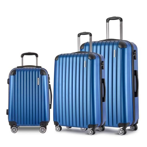 Set of 3 Hard Shell Travel Luggage with TSA Lock - Blue – Click Online Sales