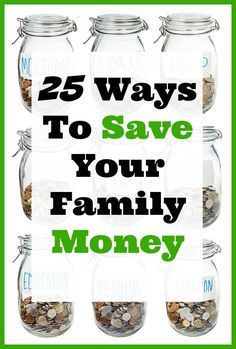 25 Ways To Save Your Family Money - Most of us are always looking for ways to save our family money. I've compiled a list of 25 of the best ways you can save your family money from some of the top frugal living websites around!