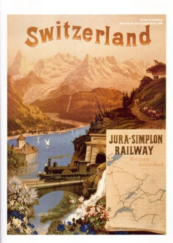 Vintage Swiss railway ad - Jura, Simplon Railway  #vintage #travel #poster #switzerland