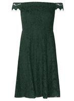 Womens Petite Green Lace Bardot Dress- Green