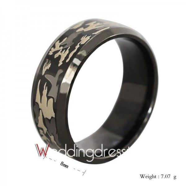 Sell Hot Three-color Camouflage Laser Titanium Steel Ring Online