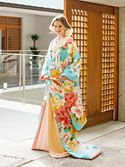 色打掛1092「牡丹」/水色/レンタル和装