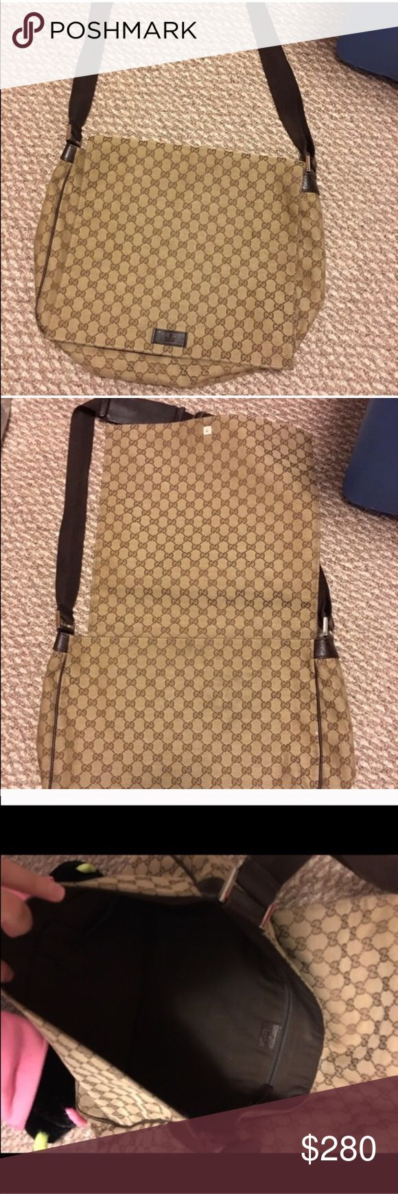 Extra Large Gucci Messenger bag Gucci extra large, fabric messenger bag, good used condition.  Can use for a laptop, books, and more. Leather in great condition damage.  Not eligible for bundle. Cross listed. Gucci Bags Crossbody Bags