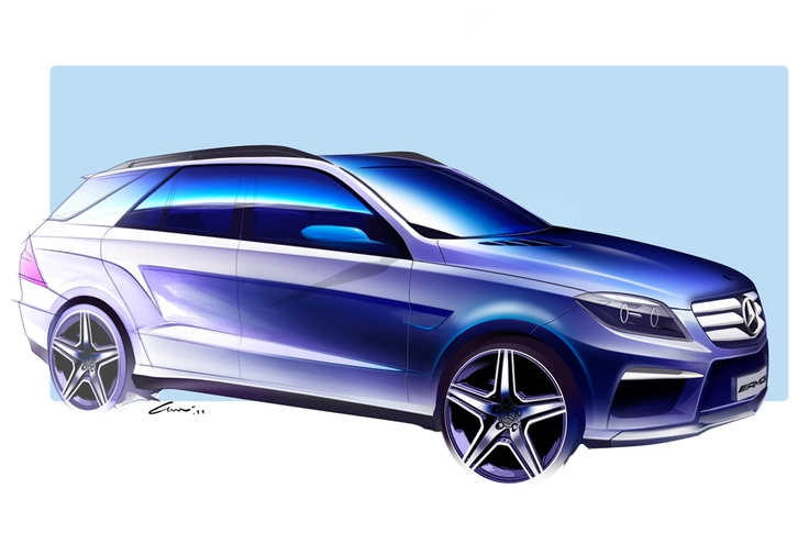This sketch of the ML 63 AMG shows how the creative team is experimenting with different design themes before the final selection.