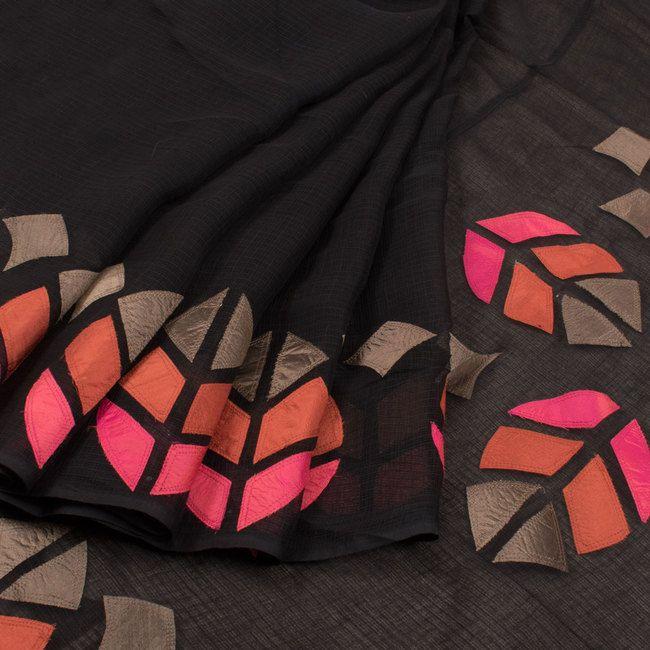 Handcrafted Kota Cotton Saree With Silk Applique Work 10019241 - AVISHYA.COM