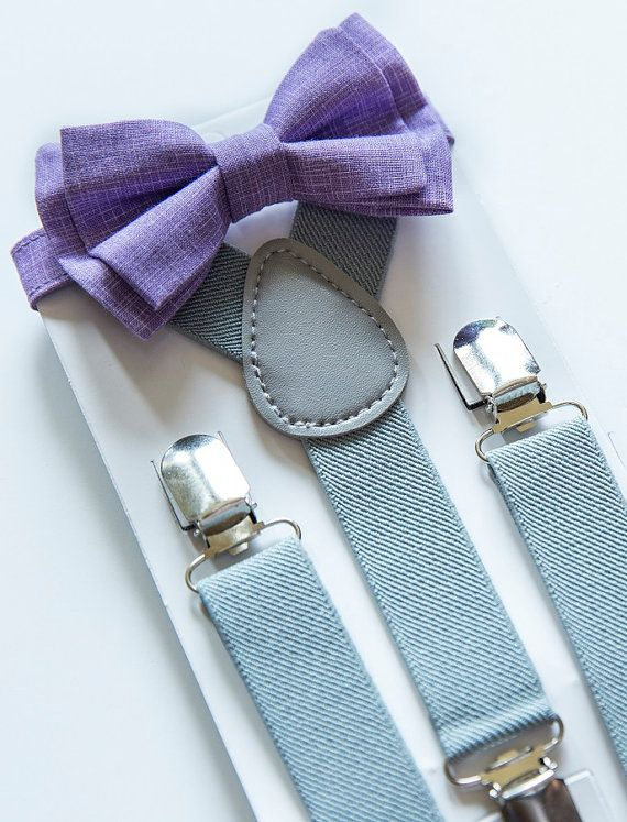 Purple/Plum Bow Tie with Grey Suspenders. Suit can be the same color grey or darker. Doesn't matter. Will be worn with black converse