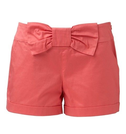 coral shorts with bow