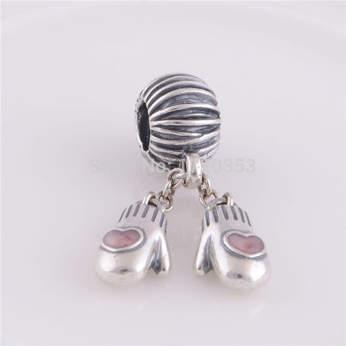 925 Sterling Silver Pink Enamel Christmas Gloves Dangle Thread Beads DIY Craft Jewelry Fits Pandora Style Charms Bracelets