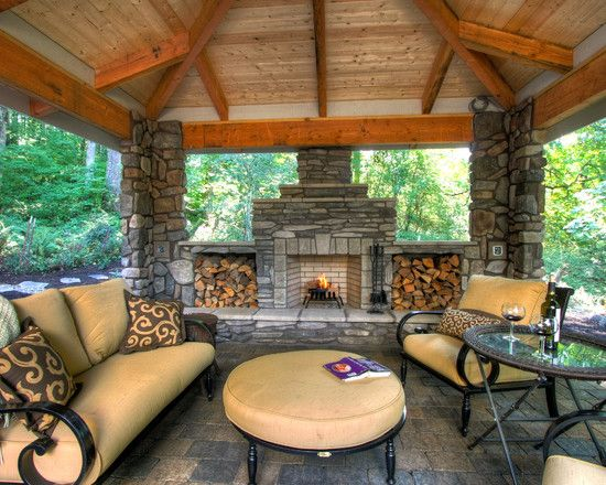Traditional Patio Design, Pictures, Remodel, Decor and Ideas, but build up the fireplace and put a tv above