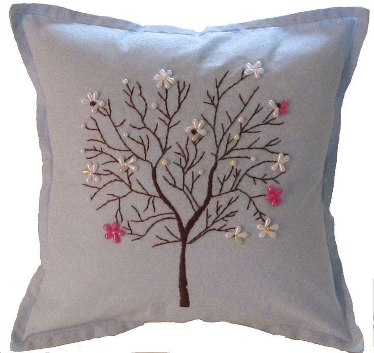 Blue Hand Embroidered Tree