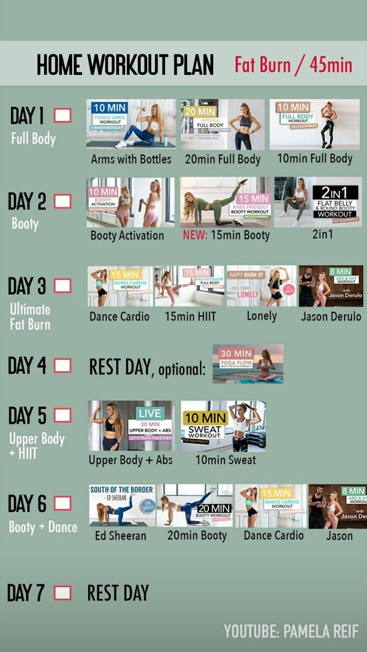 Weekly Youtube Workout Plans With Pamela Reif At Home Workout Plan At Home Workouts Workout Plan