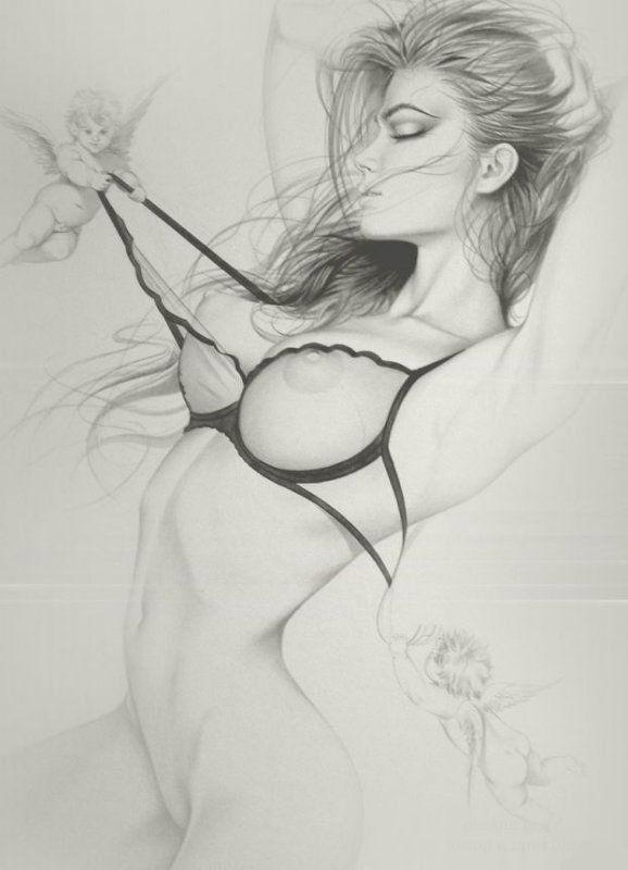 A strapped nude graphite pencil drawing erotic fine art