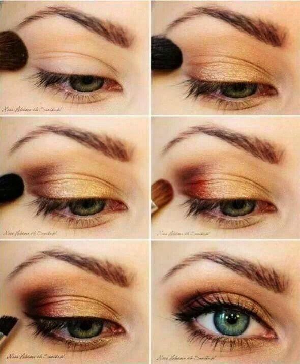 Pretty Golden Eye Makeup Tutorial for Blue Eyes