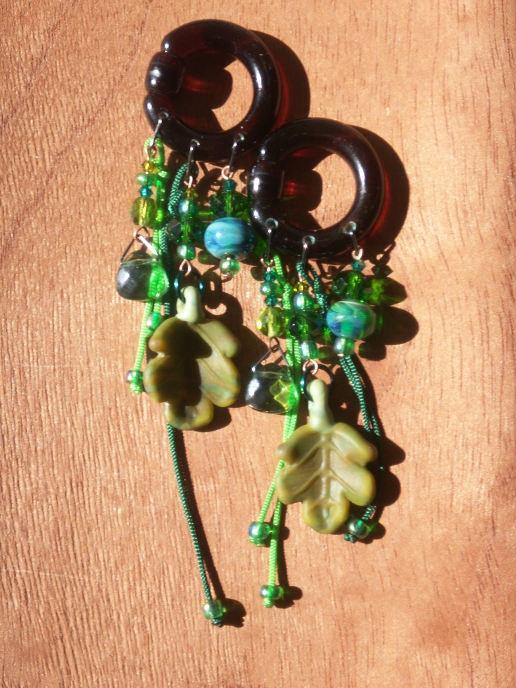 Custom gauged earrings available.  I started making comfortable and interesting pieces when I couldn't find (or afford) what I wanted for costumes, outfits and daily wear.  ~ nel