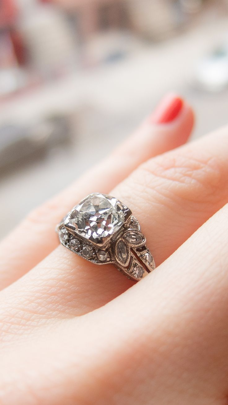 Art crafted engagement rings - Nature Inspired Art Deco Vintage Engagement Ring With A 1 80 Carat Diamond Made In Platinum